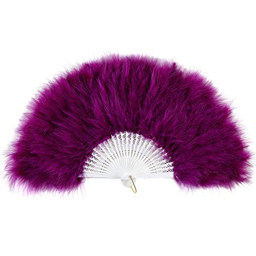 "BABEYOND Roaring 20s Vintage Style Folding Handheld Flapper Marabou Feather Hand Fan for Costume Halloween Dancing Party Tea Party 11"" X 20"" (Purple)"