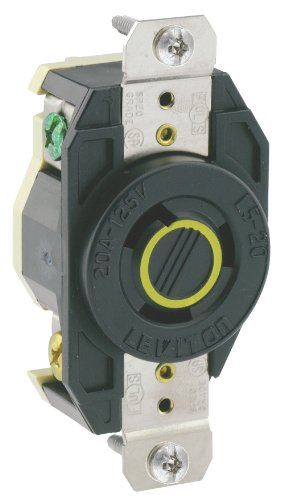 Leviton 2310 20 Amp, 125 Volt, Flush Mounting Grounding Locking Receptacle, Industrial Grade, Grounding, V-0-MAX, (20r Duplex Outlets)