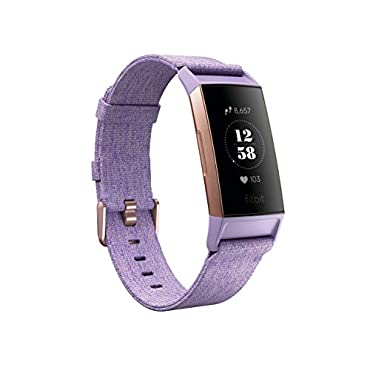 Fitbit Charge 3 SE Fitness Activity Tracker, Lavender Woven, One Size (S & L Bands Included)