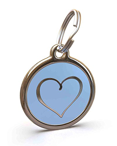 Posh Pet Boutique - UNLEASHED.DOG Customizable Engraved Dog ID Tag - Stainless Steel with Sweet Heart Enamel Inlay - Light Blue | Large
