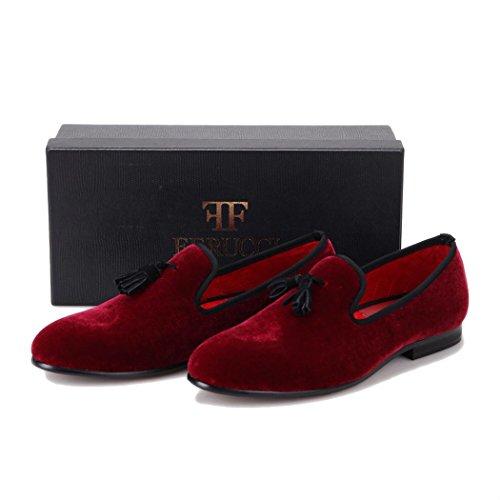 5bbe12752f67 Handmade FERUCCI Burgundy Men Velvet Slippers loafers with Black Tassel  well-wreapped