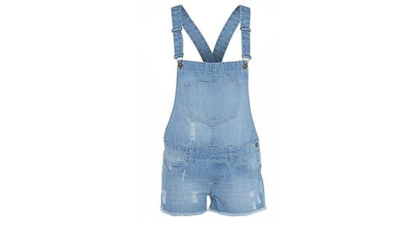 303c5b614538 Cima Mode Women Ladies Light Wash Denim Short Pinafore Dungaree Jumpsuit  Hot Pants  Amazon.ca  Clothing   Accessories