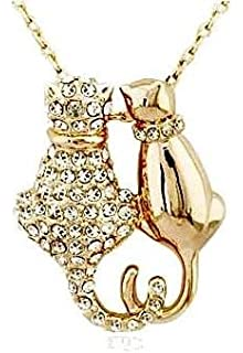 Cat Amber necklace with Swarovski crystals 18ct rose gold finish Great Bargain