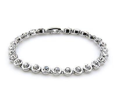 b29d65611bd0 Silvity 601501-20 - Pulsera de tenis de plata para mujer con diamantes de  imitación de lujo 18 x 0