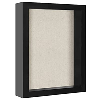 Americanflat 8x10 Black Shadow Box Frame with Soft Linen Back | Shatter-Resistant Glass. Hanging Hardware Included! - Design: Black 8x10 inch shadow box frame with an exterior depth of 2. 5 inches and an interior depth of 1. 5 inches; perfect for creating and protecting your own display of memorabilia; comes with hanging hardware for hassle-free display in both horizontal and vertical formats to hang flat against the wall; can be displayed on desktop, tabletop or a mantel Material: Wood shadow box frame with a polished shatterproof glass front; preserves your photos, cards and memories Quality: Durable shadow box frame with a clear shatterproof glass front; this versatile shadow box frame can also be used as a normal frame if the inside pieces of wood are removed so the glass front lays flat against the linen backing - picture-frames, bedroom-decor, bedroom - 4167hpbgdTL. SS400  -