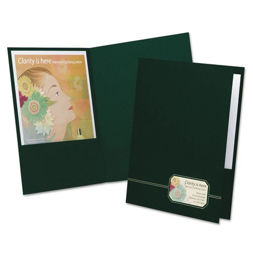 Monogram Series Business Portfolio, Premium Cover Stock, Green/Gold, 4/Pack, Sold as 1 Package