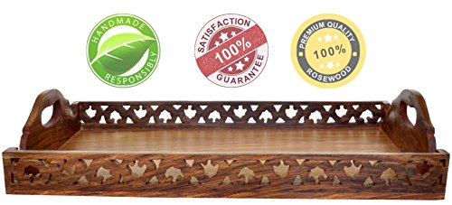 New Year Deals - 100% Guarantee Wooden Trays with Handles Decorative Ottoman Tray Wood Large Serving / Service Tray Luxury Tray for Coffee Tea Juice and Other Food Service Needs