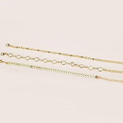 Kercisbeauty Lot de 3 bracelets de cheville en forme de fl/èche simple en forme de fl/èche avec cristaux et perles pour la plage Pieds nus