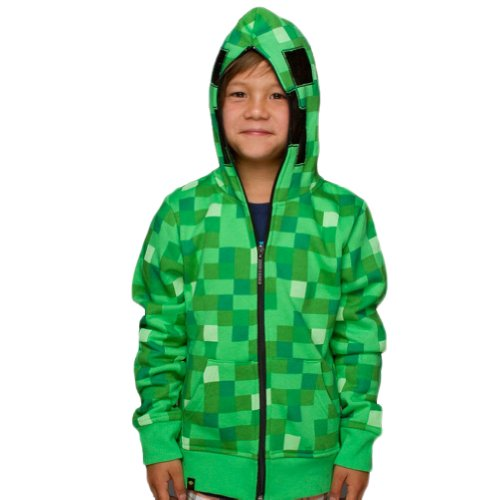 Minecraft - Creeper Premium Youth Zip Hoodie - Youth Small Green