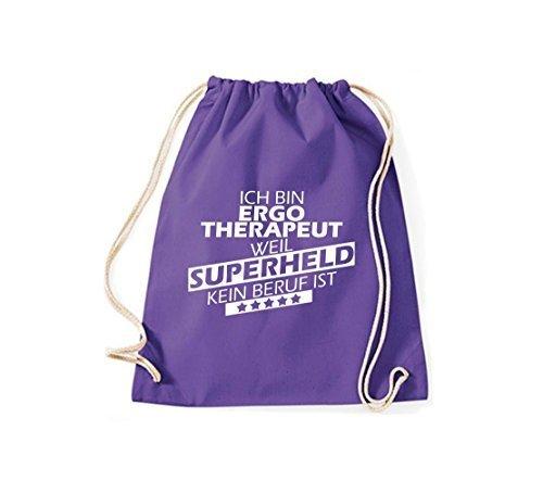 Shirtstown Bolsa de gimnasio Estoy Ergotherapeut, weil Superheld sin Trabajo ist Púrpura