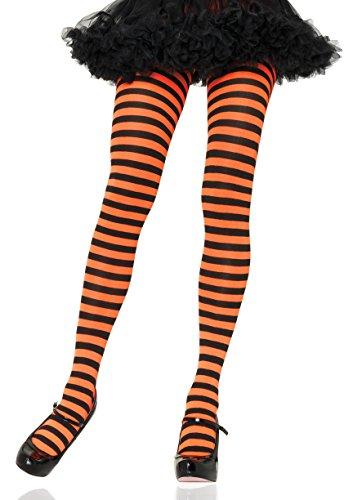 Leg Avenue Women's Nylon Striped Tights, Black/orange One Size -