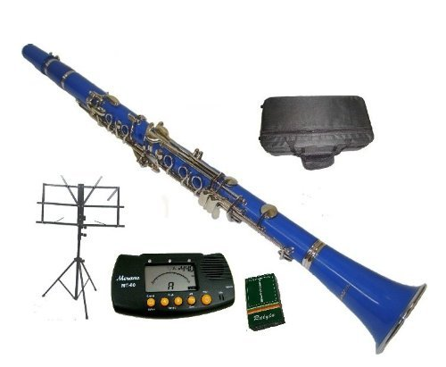 Merano B Flat Blue / Silver Clarinet with Case+MouthPiece+Metro Tuner+Black Music Stand+11 Reeds