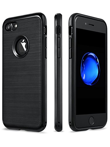 iPhone 8 / iPhone 7 Case, [Impact Resistant Dual-Layer] [No-Scratch Brushed Back] (Black)  t iphone 7 case | Don't Wait For An iPhone 7 Plus Battery Case 4167j6QAEAL