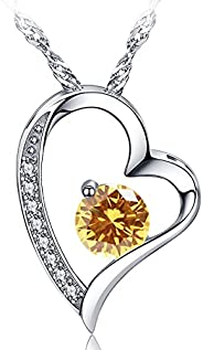 Heart Necklace 14k White Gold Plated Forever Love Heart Pendant Necklace for Women Girl,Cubic Zirconia Jewelry