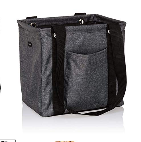 Thirty One Small Utility Tote - 9337 - No Embroidery - in Charcoal Crosshatch