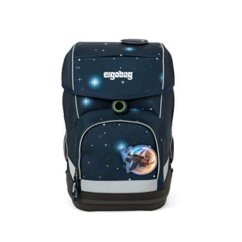 Ergobag cubo KoBärnikus Glow, Galaxy Glow Edition, ergonomischer Schulrucksack, Set 5-teilig, 19 Liter, Blaue Galaxie Glow