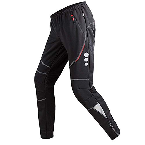 GOMNEAR Men's Cycling Pants Fleece Thermal Windproof Trousers Winter Athletic TightsBlack-S