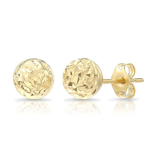 14k Yellow Gold Diamond-cut Ball Stud Earrings (7mm) - Yellow Ball Gold Earrings 7mm