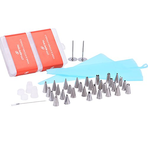 OTHERMAX 39 Pcs Cake Decorating Tips Kit - Stainless Steel Piping Nozzles/Piping Tips Set with 2 Reusable Silicone Pastry Bags, 2 Reusable Couplers, 2 Flower Nails and 1 Cleaning Brush & Gift Box