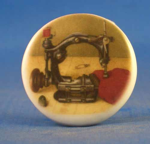 (Porcelain China Collectable Button -- Sewing Machine & Heart)