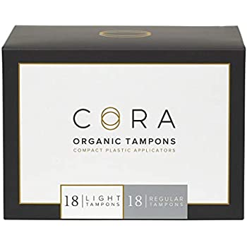 Cora Organic Cotton Tampons with BPA-Free Plastic Compact Applicator; Chlorine & Toxin Free - Variety Pack - Light/Regular (36 Count)