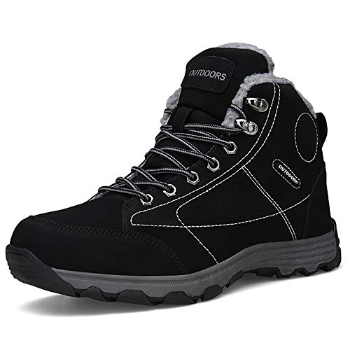 Zcoli Men Trekking Hiking Shoes Outdoor Hiking Snow Boots Fur Lined Non-Slip Rubber Sole Waterproof Winter Shoes Black