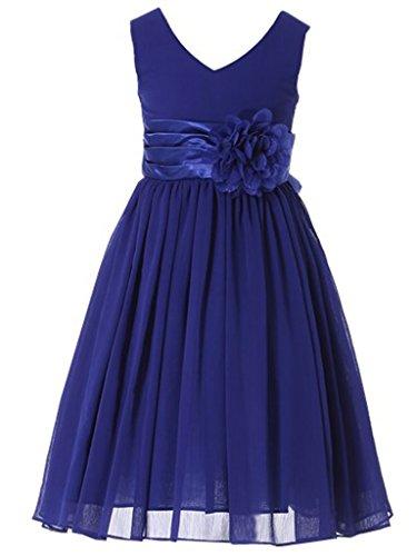 Bow Dream Flower Girl Dress Junior Bridesmaids V-Neckline Chiffon Royal Blue 2