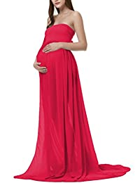 JL Store Maternity Chiffon Gown Split Front Maxi Photography Dress for Photo Shoot