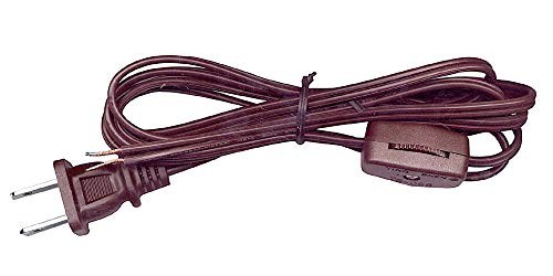(National Artcraft Lamp Cord w/Rotary Switch & Stripped Ends Ready for Wiring, 6 ft. Brown)