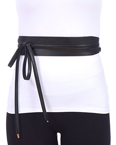 Sunny Belt Women's Faux Leather Self Tie Wrap Around Waistband Cinch Belt (Black, One - Sunnies Around Wrap