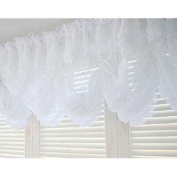 Amazon Com Balloon Shades Valance Curtain White Beads