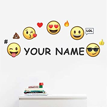 Amazoncom Personalized Kids Name Wall Decal Emoji Home Kitchen - Emoji wall decals