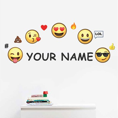 Personalized Kids Name Wall Decal (Personalized Emoji)