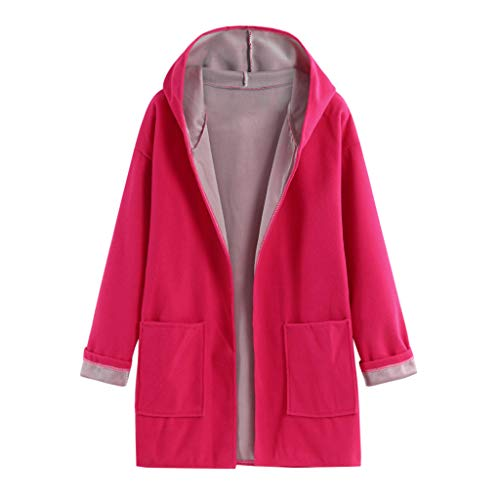 LINYIOU77 Women Fashion Open Front Cardigan Sweat Long Sleeve Solid Color Hoodies Winter Casual Loose Warm Outwear Coat Pink