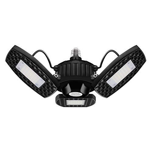 LED Garage Lights, HRB 60W Deformable Garage Ceiling Light 6000LM Basement Lights with 3 Adjustable LED Panels 270° for…