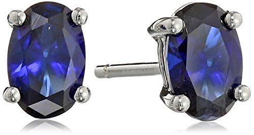 Sterling Silver 6x4 Oval Gemstone Stud Earrings