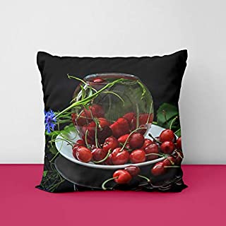4167l5z0PqL. SS320 Fresh Cherries Red Fruit Blue Flowers Square Design Printed Cushion Cover