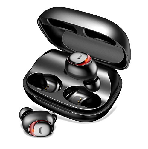 TECKEPIC True Wireless Earbuds, Bluetooth 5.0 Earbuds, in-Ear Headphones Earphones with Charging Case, Stereo Sound Built-in Microphone, Waterproof, for iPhone Android Running Sport (Best Wireless Earbuds For Iphone 6 Plus)