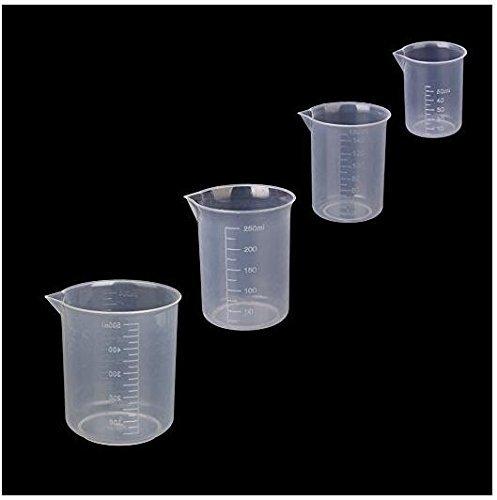NiceButy Set of 4 Plastic Graduated Beakers Transparent Measuring Tools 50ml 150ml 250ml 500ml (Transparent)