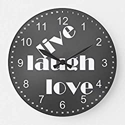 Moonluna Live Laugh Love Chalk Board 10 inches Silent Wooden Wall Clock Home Decoration for Home Living Room Office