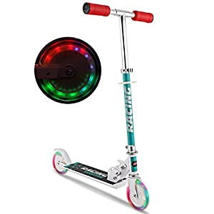 WeSkate B3 Scooter for kids with LED Light Up Wheels, Adjustable Height Kick Scooters for Boys and Girls, Rear Fender Break|5lb Lightweight Folding Kids Scooter, 110lb Weight Capacity (White/B3/FBA)
