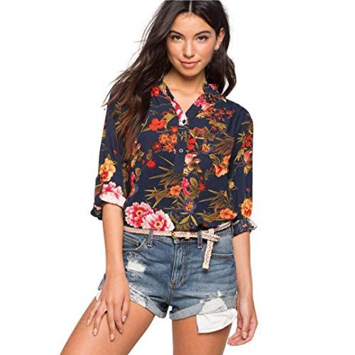 Overdose Camisa de Moda con Gasa con Cuello en V y Mangas largas para Mujer, Vacaciones en la Playa con Jeans Blusa con Estampado Informal Blusas Sueltas: ...