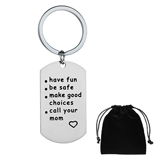 Qibote New Driver Keychain Gift Daughter Son Graduation Key Ring Gift Have Fun, Be Safe, Make Good Choices and Call Your Mom Keychains (Square)