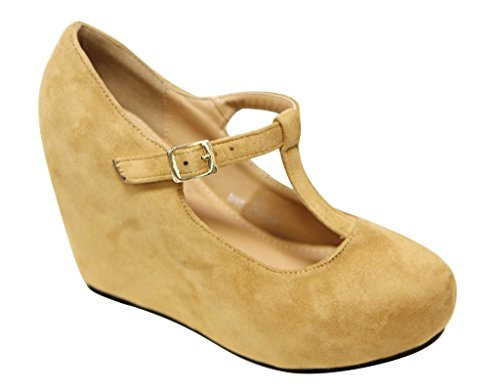 mary DbDk suede round Camel toe squeaky Onyx wedge shoes heel Womens pumps jane 1 wZw8SqR