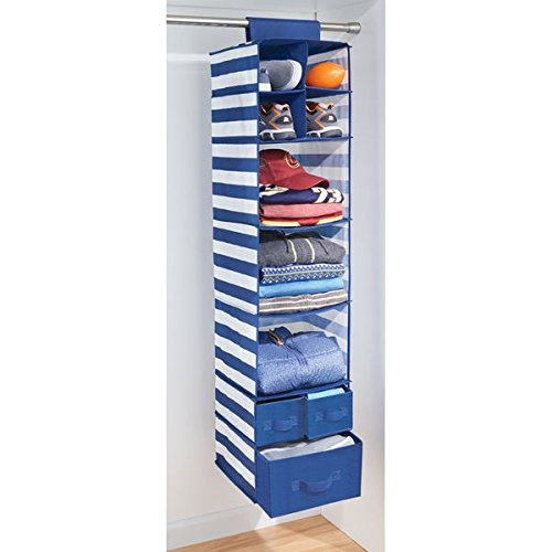 mDesign Soft Fabric Over Closet Rod Hanging Storage Organizer with 7 Shelves and 3 Removable Drawers for Children's Bedrooms or Nursery - Stripe Pattern, Navy Blue with White Stripes