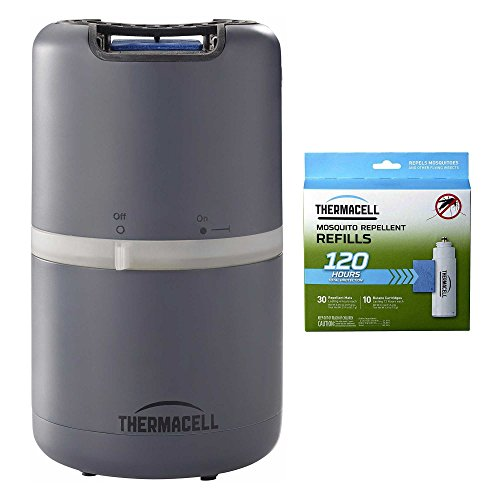Thermacell MR-D201 Halo Mosquito Repeller - Patio Shield, Slate & R-10 Mega Refill Pack (120 Hours Protection)