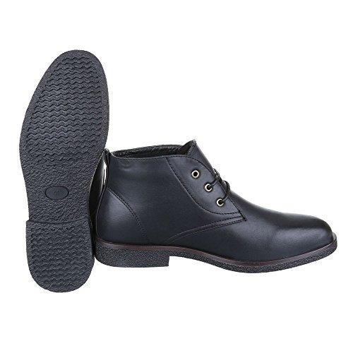 Stiefeletten Herren Schuhe Desert Boots Blockabsatz Moderne Schnürsenkel Ital-Design Boots Schwarz
