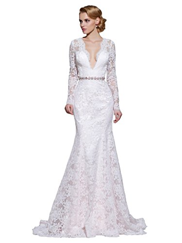 CLOCOLOR Women's Sheer Long Sleeve Deep V Neck Mermaid Vintage Lace Wedding Dress Size 18 Ivory