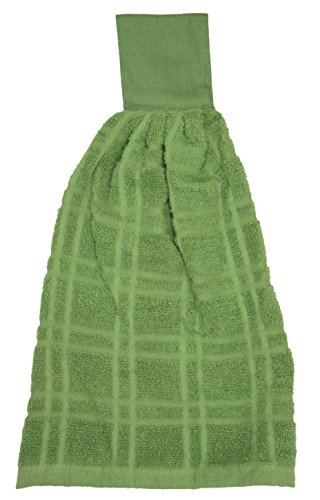 0% Cotton Terry Hanging Kitchen Tie Towel, Solid Cactus Green (Hanging Oven)