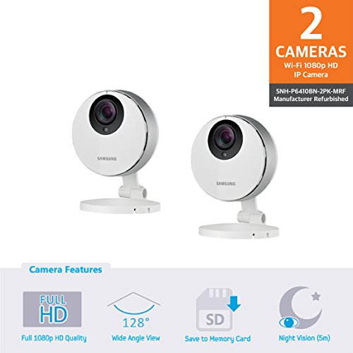 Samsung SNH-P6410BN SmartCam HD Pro Full HD 1080p Wi-Fi Camera Double Pack (Manufacturer Refurbished) by Samsung
